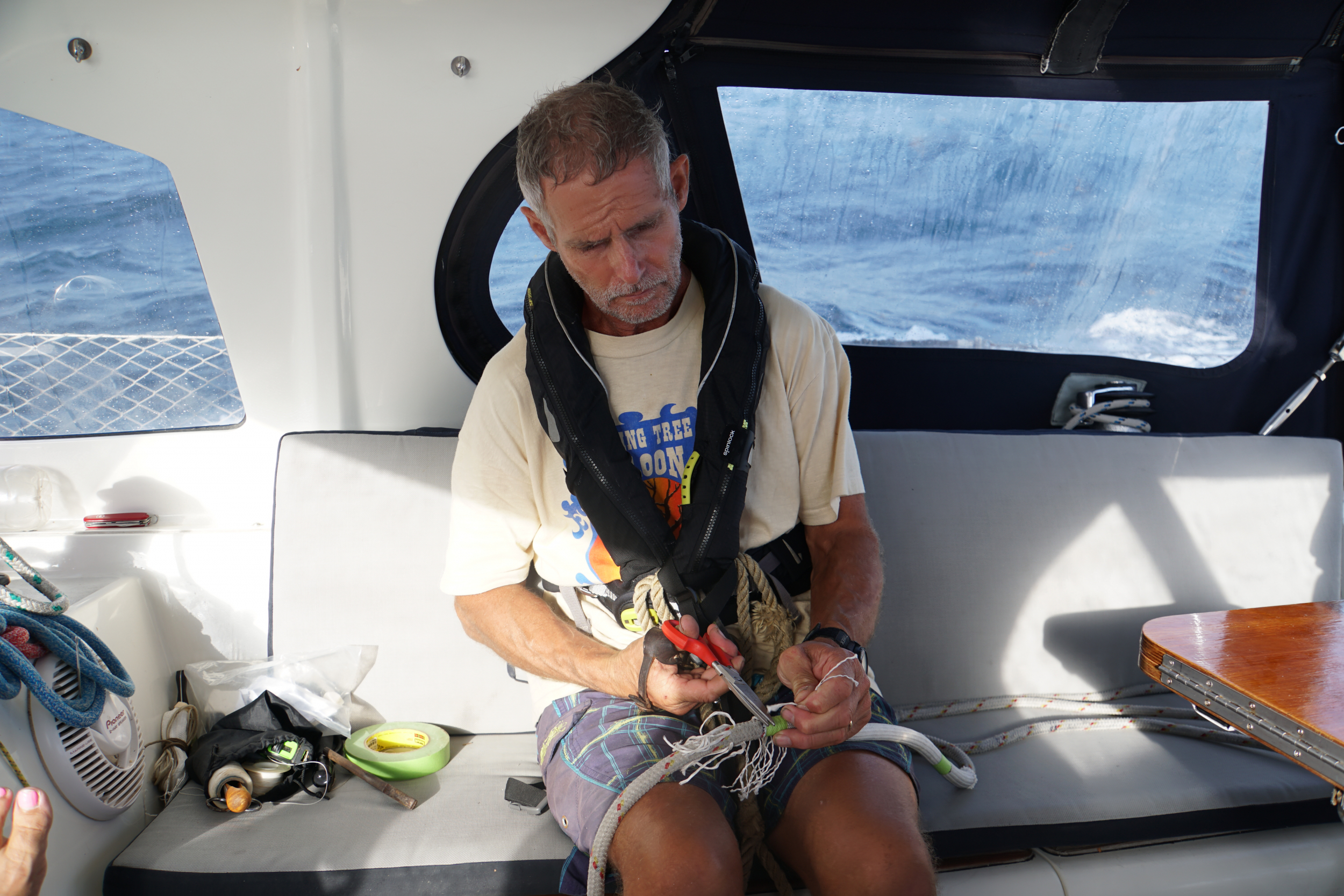 7. Fixing halyards at sea