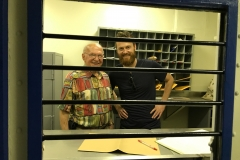 15. Brian and Dad in the mailroom