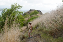 13. Hiking across the hilltop at Fort Rodney