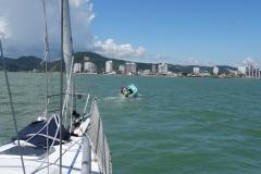 2. Pazzo following the guide boat into Bahia de Caraquez