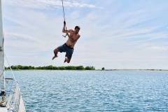 38. Halyard jumping off Pigeon Island