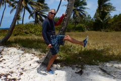 24. Willy looking for rum on Petit Tabac where the Pirates of the Caribbean was filmed ..bonfire with rum on beach.